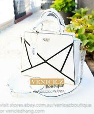 BNWT GUESS Large Satchel Handbag Shoulder Bag White Bag Gold