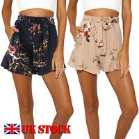 UK Womens Fashion High Waist Summer Floral Shorts Ladies Casual  Beach Hot Pants