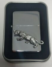 More details for sabre tooth tiger petrol lighter windproof fliptop chrome and pewter 123