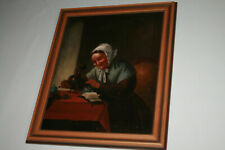 Gemälde Ölbild Portrait Wirtzhaus Frau Kaffee Antik Rahmen Küche Malerei