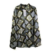 Yimanie Mens 2XL New Black Diamond Pattern Button Up Collared Shirt