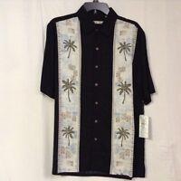 Men's Batik Bay Size Medium Black Rayon Hand Painted Sport Shirt