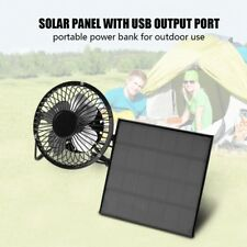 "Outdoor Mini USB 4"" Fan Cooler With 3W/6V 5.7"" Solar Power Energy Panel System"
