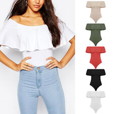 Womens Ladies Sleeveless Off the Shoulder Frill Leoatard Bodysuit Stretch Top