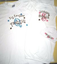 Personalized BIG/LITTLE SISTER OR BIG/LITTLE BROTHER T Shirt & SLEEPER Hat SET