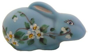 """New Mosser Glass Bonnie Blue Satin Handpainted Laying 5 1/2"""" Easter Bunny"""
