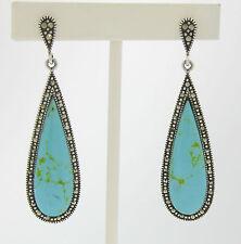 Marcasite Sterling Silver Elongated Tear Drop Turquoise Elegant Ladies Earrings