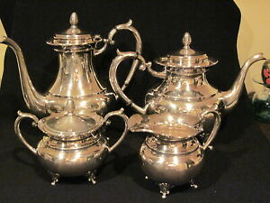 Sterling Silver 4-Piece Coffee Tea Set Vintage and Beautiful Marked 950