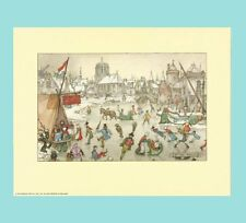 "1971 - 9"" x 7"" Anton Pieck Dutch Holland Netherlands Skating Scene Print - MINT"