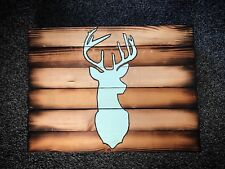 Stag Head Wooden Home Wall Decor Winter Snow Log Cabin Man Cave Deer Wall Art