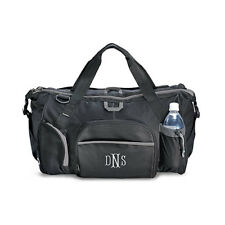 Black And Grey Exploration Duffle Bag Embroidered Gift Personalized