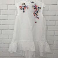 KAARI BLUE Womens Tunic Top White Floral Sequins Lagenlook Sleeveless Medium NWT