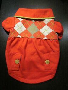 "Martha Stewart Red Argyle Dog ""Hook & Loop"" Polo Shirt w/ Pockets- Size Medium"