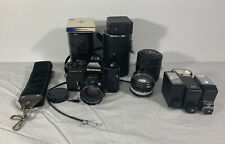 Konica Autoreflex T3 Film Camera w/ Accessories 5 Lenses Flash Strap Cases +