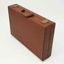 Vtg Saxony Earhart Leather Hard Sided Briefcase Fan File Brown Attaché Case
