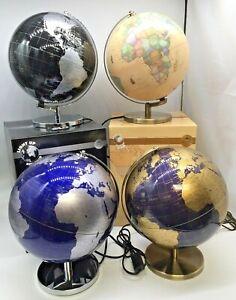 Globe Large Light Up Metal Base Modern Look Display Desk Top Silver Blue Natural