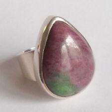 Großer natur Rubin mit Zoisit Ring, 925 Sterling Silber, Edelsteinring, RG 56