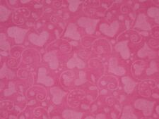 Hot Pink cotton Valentine fabric Heart Swirls quilting dress material 1 Yard 11""