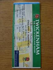 16/11/2002 Rugby Union Ticket: England v Australia [At Twickenham] (slight marki
