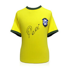 Pele Signed Brazil 1970 Shirt Yellow Football Team Autographed Memorabilia Sport