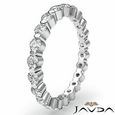 Women Eternity Wedding Band Round Diamond Shared Prong Ring 18k White Gold 0.7Ct