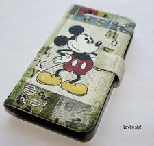 For iPHONE 4 4G 4S - DISNEY MICKEY GREEN LEATHER FLIP POUCH HOLSTER CASE COVER