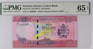 Solomon Islands 10 Dollars 2017 P 33 Low number 999 Gem UNC PMG 65 EPQ