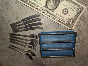 Plasco USA toy flatware play set spoon forks knives hard plastic 1950/'s make believe vintage play house doll accessories scarce pattern