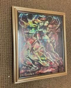 Carlos Diaz Peruvian painting canvas 1980 framed Ex Gallery N J