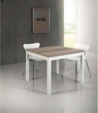 Tavolo Quadrato Moderno a Libro 90 x 90 Bianco e Rovere Primitivo 4-8 persone
