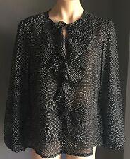 Stylish As New LIZ JORDAN Sheer Black & White Polka Dot Long Sleeve Top Size 12