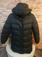 LL Bean Womens Large Jacket Coat Goose Down Black Removable Hood Puffer Quilted