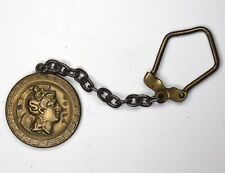 VINTAGE ANCIENT ROMAN AOHNA BRONZE COIN MEDAL KEY CHAIN OLD CLASP