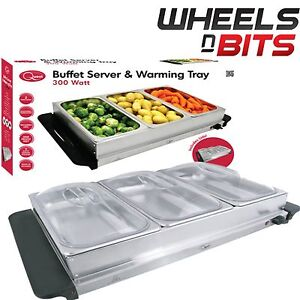 Large Stainless Steel 2.4L x3 Pan Large Buffet Food Server Warmer Hot Plate Tray