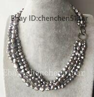 schöne 4 Stränge 6-9mm grau Barock Süßwasser Perlen Twist Halskette 18 Zoll