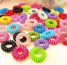WOAU 10X Color Lady Elastic Rubber Fashion Hairband Hair Tie Rope Band Ponytail