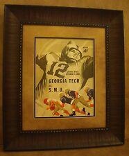 "VINTAGE SMU MUSTANGS COLLEGE FOOTBALL POSTER  FRAMED ""SMU VS GEORGIA TECH"" 1958"