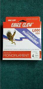 Eagle Claw ECCBFM-4 Premium Clear Blue Fluorescent Monofilament 4 lb 1000 yds