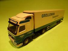 LION CAR 1:50 VOLVO FH12I TRUCK + TRAILER - GROLLEMAN TRANSPORT - VERY GOOD