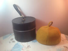 1960s Black Hat Box & Mustard Yellow Suede Leather Domed Pillbox Hat Betmar Mod