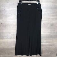 """ELLE Women's Size 8 Flare Leg Dress Pants Black Button Detail 32"""" Inseam"""