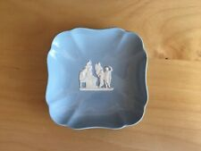 WEDGWOOD  ETRURIA & BARLASTON BLUE EMBOSSED  QUEENS WARE 11cm SQUARE PIN DISH