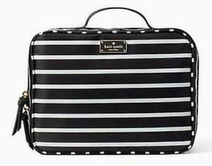 NWT Kate Spade Dawn Sailing Stripe Travel Cosmetic Bag Classic Blk/Wh MSRP $139