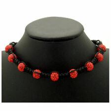 Vibrant Red Austrian Crystal Shamballa Necklace - Christmas Birthday Gift Boxed
