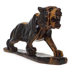 "7.32"" Tiger Figurine Natural Gems Yellow Tiger Eye Carved Crystal Healing Decor"