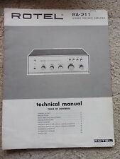 Rotel RA-211 Technical Manual, Stereo Pre-Main Amplifier.