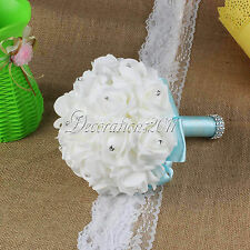 Lovely Handmade Wedding Bouquets Bridal Bridesmaid Aartificial Flowers Rose Posy
