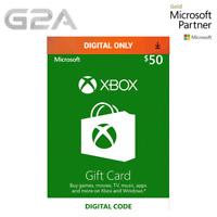 XBOX Live $50 USD Gift Card for Microsoft Xbox One / Xbox 360 - 50 Dollars [USA]