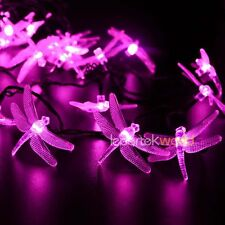 Solar 30 LED 6M Dragonfly Fairy Lights String Christmas Party Outdoor Pink Decor