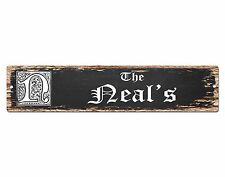 SPFN0333 The NEAL'S Family Name Street Chic Sign Home Decor Gift Ideas